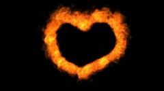 Fire love heart - stock footage