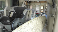 Time lapse of packing up the van for camping in Oak View, California. Stock Footage