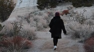 Woman trail walking in desert 1305 Stock Footage