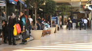 Consumers at Shopping Mall Pan Stock Footage