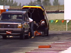 Motorsports, drag racing, jet cars start up, engines spooling up Stock Footage