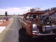 motorsports, drag racing wheelstander pickup, loud and fast! - stock footage
