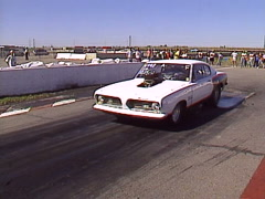 motorsports, drag racing, 1969 Plymouth Baracuda burnout, loud and fast! - stock footage