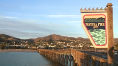 Ventura Pier sign and the city of Ventura, California. Stock Footage