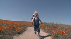 Front point of view of child running through the california poppies in bloom Stock Footage