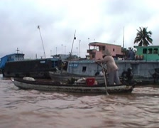 Floating market boats Stock Footage