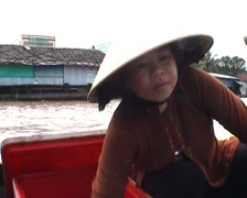 Women in boat at Floating market Stock Footage