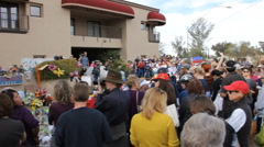 Congresswoman Gabrielle Giffords Tucson office - Peace Walk ending - 18 - stock footage