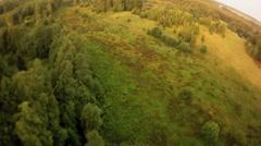 Landing on autumn plain on hot air balloon Stock Footage