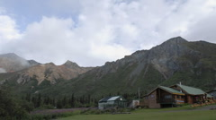Time lapse of clouds blowing over Sheep Mountain Lodge, Alaska. Stock Footage