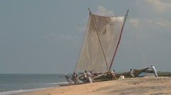 Sailboat on the beach Stock Footage