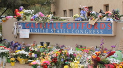 Congresswoman Gabrielle Giffords Tucson office - Peace Walk ending - 19 - stock footage