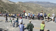 Time lapse of the peloton during the 2007 Tour of California bike race  Stock Footage