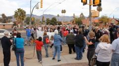 Congresswoman Gabrielle Giffords Tucson office - Peace Walk ending - 21 Stock Footage