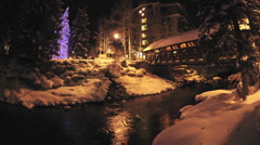 Night time lapse of Gore Creek flowing through Vail, Colorado. Stock Footage