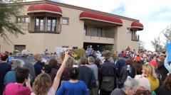 Congresswoman Gabrielle Giffords Tucson office - Peace Walk ending - 5 Stock Footage