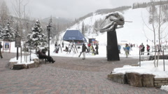 Time lapse of skiers at a ski lift in Vail, Colorado. Stock Footage