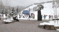 Stock Video Footage of Time lapse of skiers at a ski lift in Vail, Colorado.