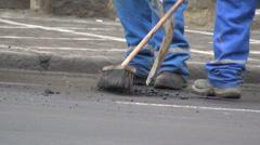 workers  street, road, modernization, rehabilitation - stock footage