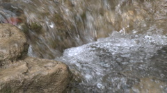 Close up of a small waterfall on the North Fork Matilija Creek above Ojai Stock Footage