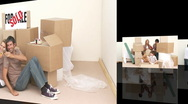Animation of happy families unpacking boxes Stock Footage
