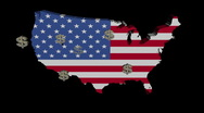 American dollars with USA map flag animation Stock Footage
