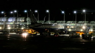 Chicago O'hare airport terminal at night Stock Footage