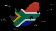 Stock Video Footage of planes departing South Africa map flag