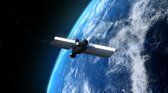 Flying modern satellite Stock Footage