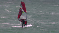 Sailboarder does flip Stock Footage