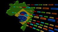 Brazil map with lines of containers animation Stock Footage