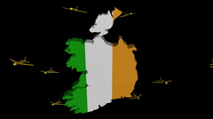 Stock Video Footage of planes departing Ireland map flag animation