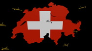 Stock Video Footage of planes from Switzerland map flag animation