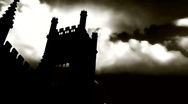 Lightning strikes over derelict church spire  Stock Footage