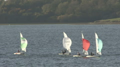 Dinghies race on Rutland Water. Stock Footage