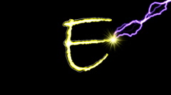 Electric arc draws golden capital letters on black background. (EFGH) Stock Footage