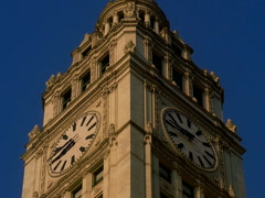 Chicago's Landmark Wrigley Building Clock Tower Day Time 640x480 Stock Footage