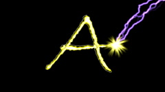 Electric arc draws golden capital letters on black background. (ABCD) Stock Footage