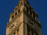 Chicago's Landmark Wrigley Building Clock Tower Day Time NTSC Stock Footage
