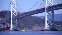 SF Bay Bridge Container Ship Stock Footage