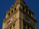 Chicago's Landmark Wrigley Building Clock Tower Day Night Time PAL Stock Footage
