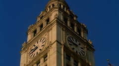 Chicago's Landmark Wrigley Building Clock Tower Day TimeHD - stock footage