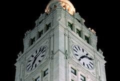 Chicago's Landmark Wrigley Building Clock Tower Night Time NTSC - stock footage