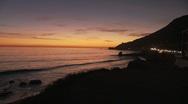 Stock Video Footage of Malibu Sunset SLS Pan