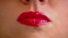 Red Lips Lollypop Stock Footage