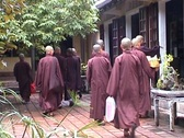 Stock Video Footage of Tu Dam Pagoda, monks