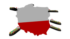 Poland map flag with container ships animation Stock Footage