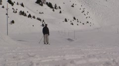 Skiers in the French Alps Stock Footage