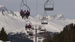 Ski Lift in the Alps Stock Footage