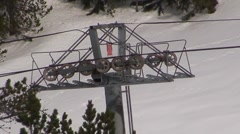 Ski Lift Pylon Wheels Turning Stock Footage